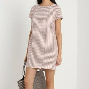 MADEWELL stripe play linen dress button back mini